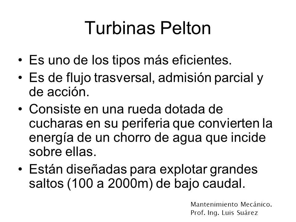 Turbinas Pelton Es uno de los tipos más eficientes.