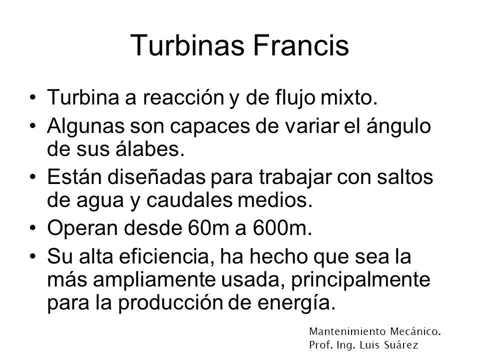 Turbinas Francis Turbina a reacción y de flujo mixto.