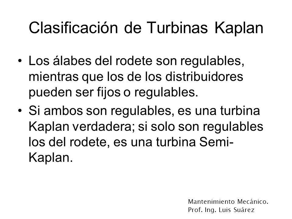 Clasificación de Turbinas Kaplan