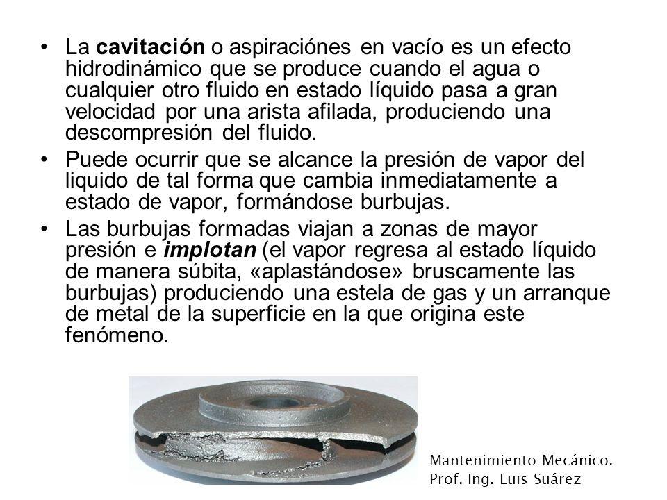 La cavitación o aspiraciónes en vacío es un efecto hidrodinámico que se produce cuando el agua o cualquier otro fluido en estado líquido pasa a gran velocidad por una arista afilada, produciendo una descompresión del fluido.
