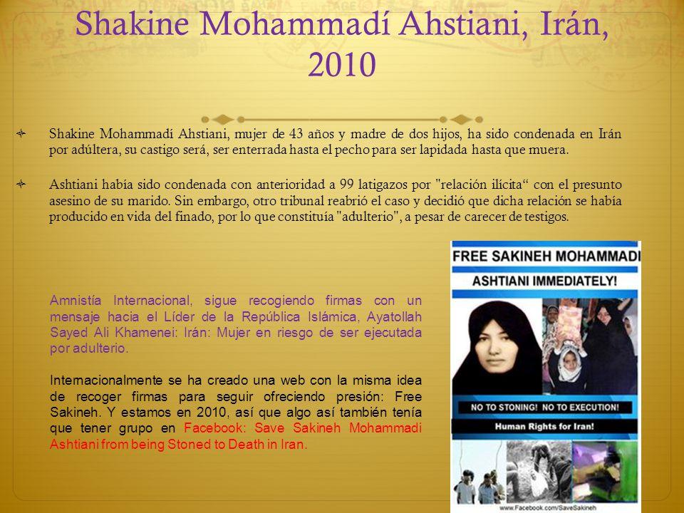 Shakine Mohammadí Ahstiani, Irán, 2010