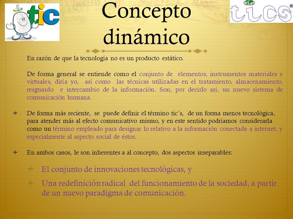 Concepto dinámico El conjunto de innovaciones tecnológicas, y