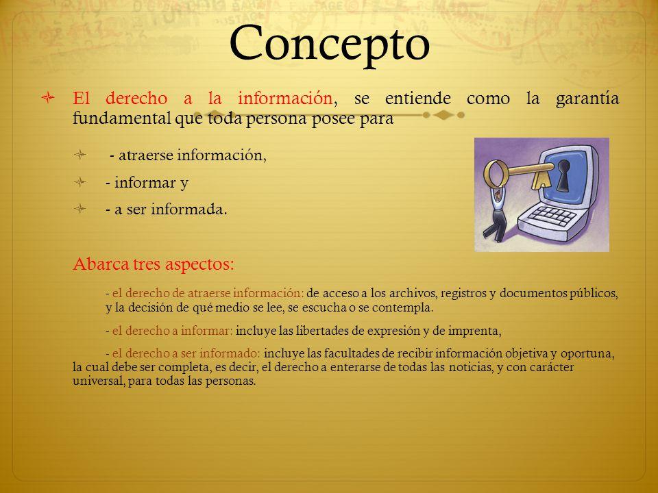 Concepto El derecho a la información, se entiende como la garantía fundamental que toda persona posee para.