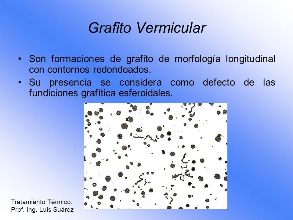 Grafito VermicularSon formaciones de grafito de morfología longitudinal con contornos redondeados.