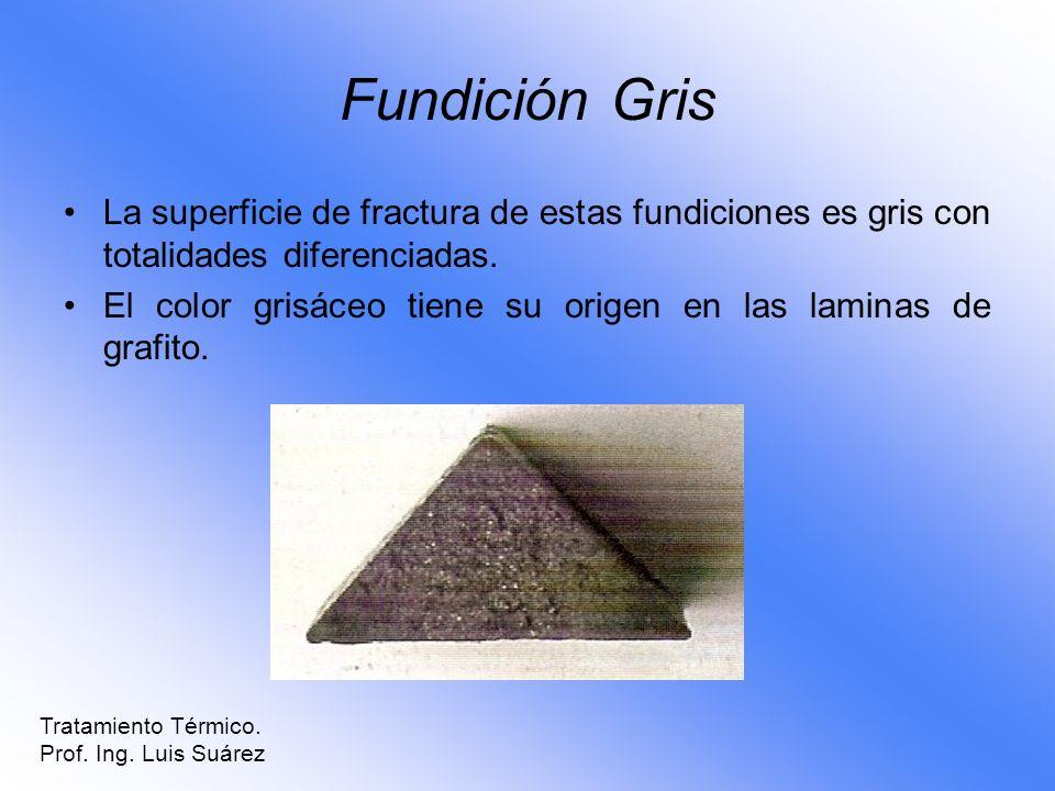 Fundición GrisLa superficie de fractura de estas fundiciones es gris con totalidades diferenciadas.