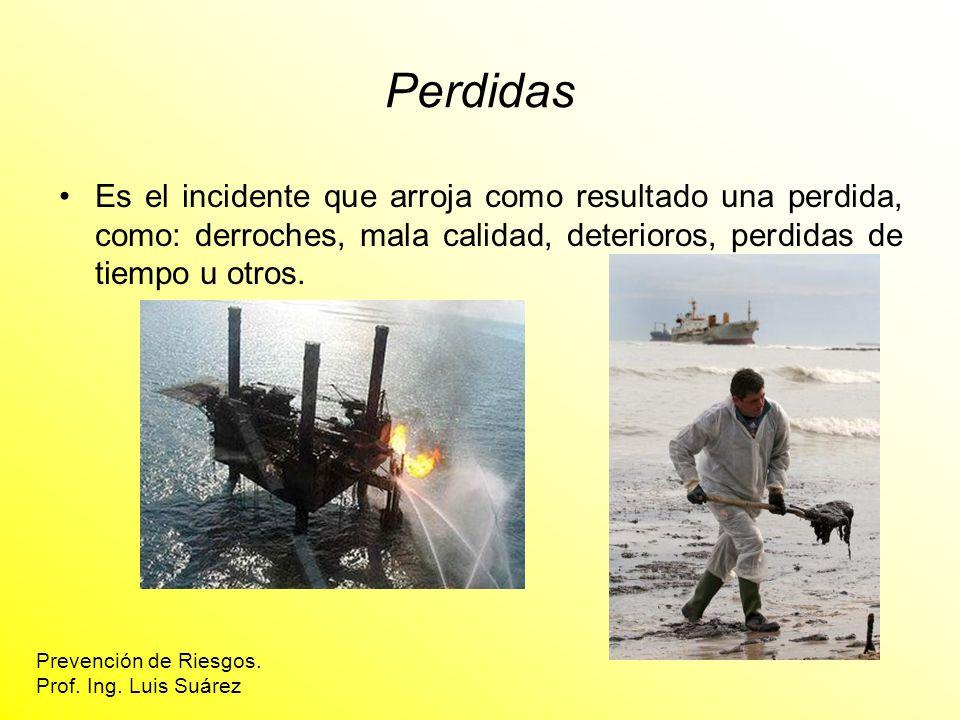 Perdidas Es el incidente que arroja como resultado una perdida, como: derroches, mala calidad, deterioros, perdidas de tiempo u otros.