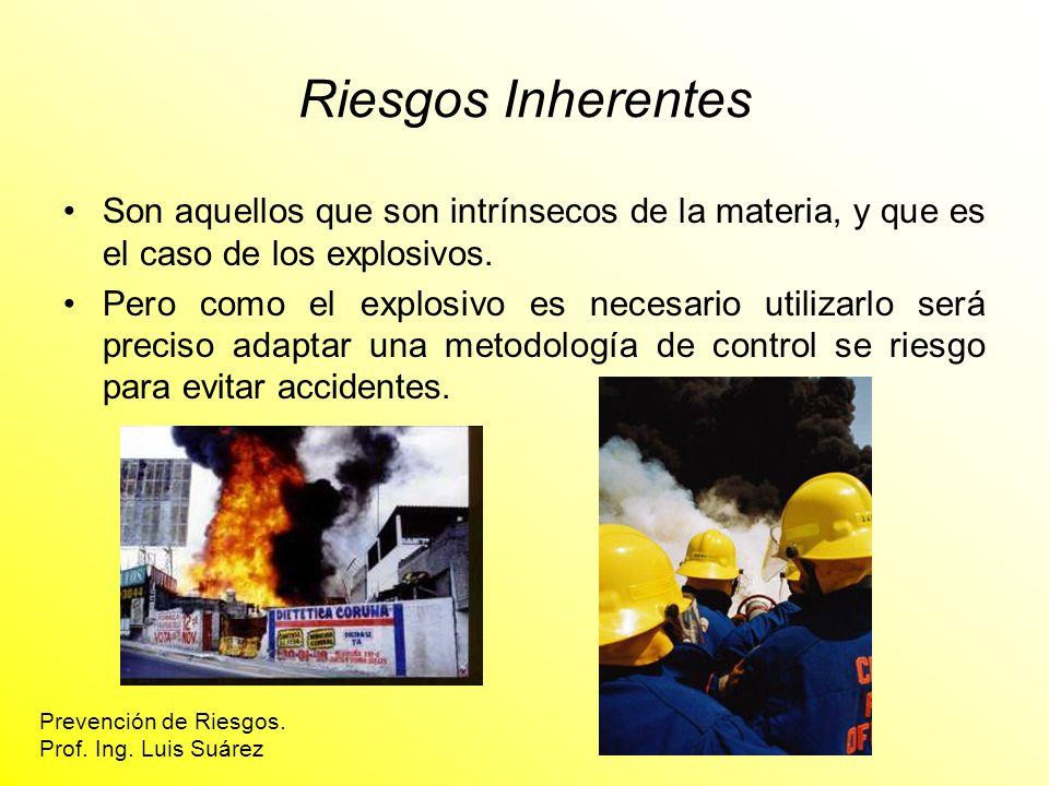 Riesgos Inherentes Son aquellos que son intrínsecos de la materia, y que es el caso de los explosivos.