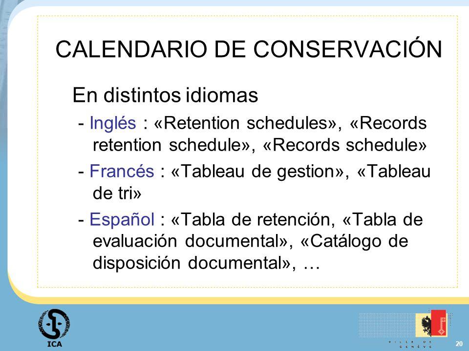 CALENDARIO DE CONSERVACIÓN