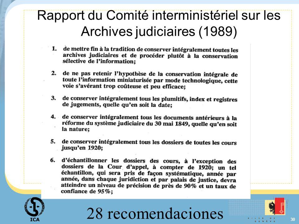 Rapport du Comité interministériel sur les Archives judiciaires (1989)
