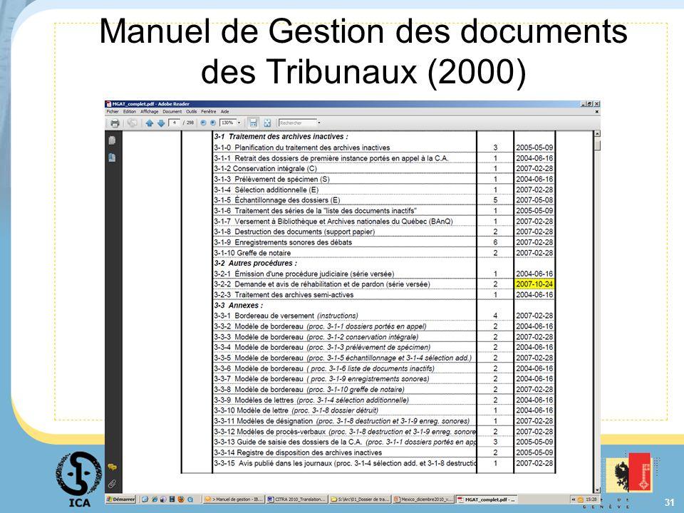 Manuel de Gestion des documents des Tribunaux (2000)