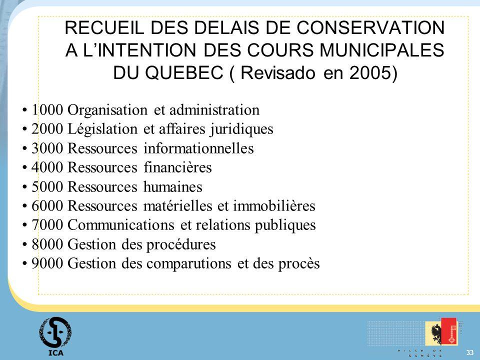 RECUEIL DES DELAIS DE CONSERVATION A L'INTENTION DES COURS MUNICIPALES DU QUEBEC ( Revisado en 2005)