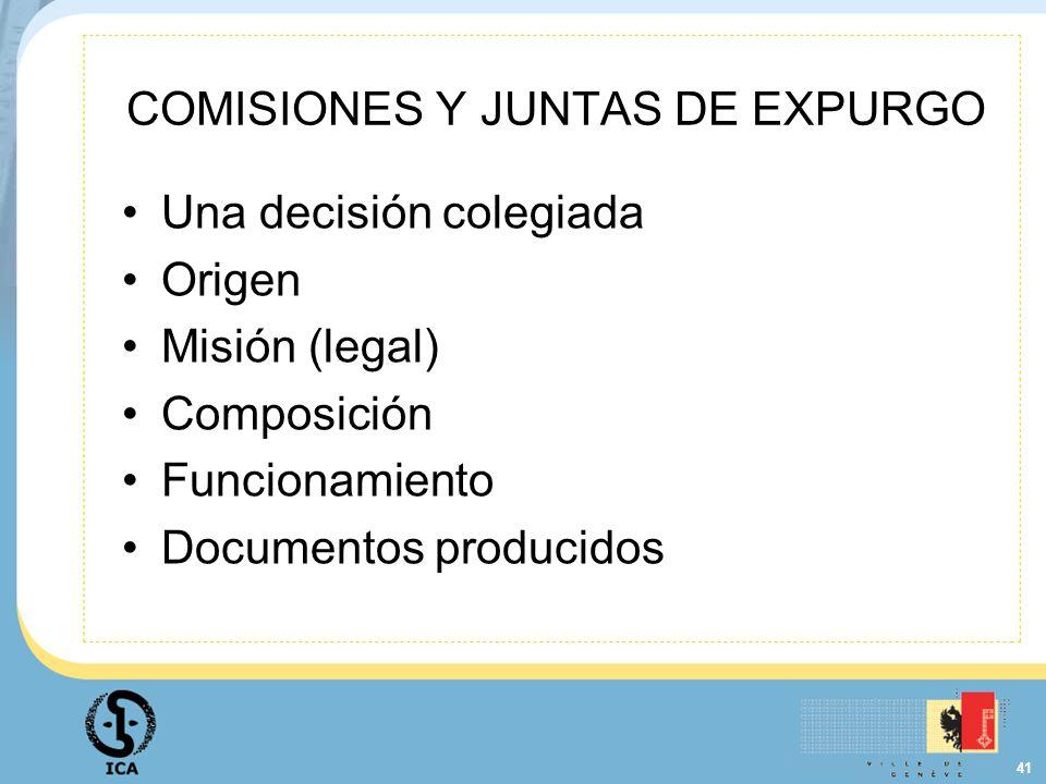 COMISIONES Y JUNTAS DE EXPURGO