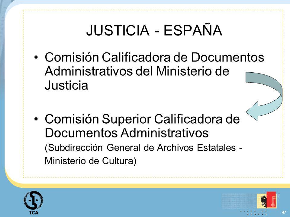 JUSTICIA - ESPAÑA Comisión Calificadora de Documentos Administrativos del Ministerio de Justicia.