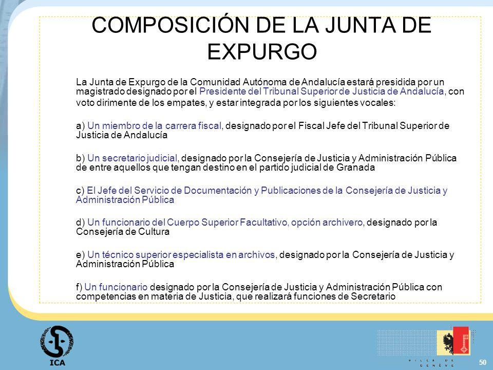 COMPOSICIÓN DE LA JUNTA DE EXPURGO
