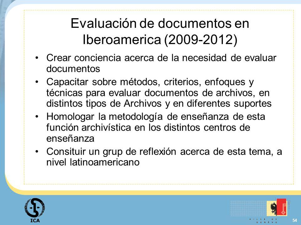 Evaluación de documentos en Iberoamerica (2009-2012)