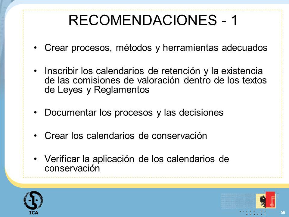 RECOMENDACIONES - 1 Crear procesos, métodos y herramientas adecuados