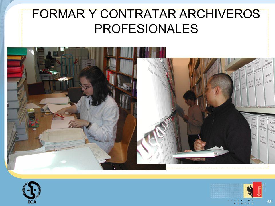 FORMAR Y CONTRATAR ARCHIVEROS PROFESIONALES