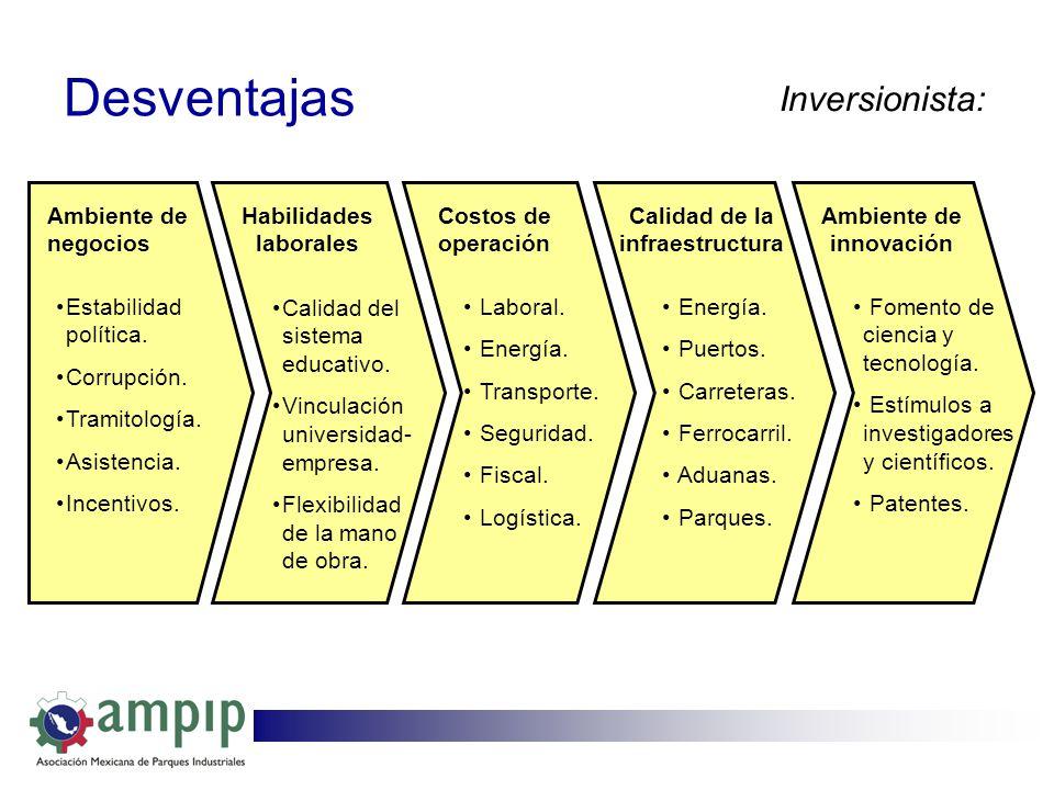 Desventajas Inversionista: Ambiente de negocios Habilidades laborales