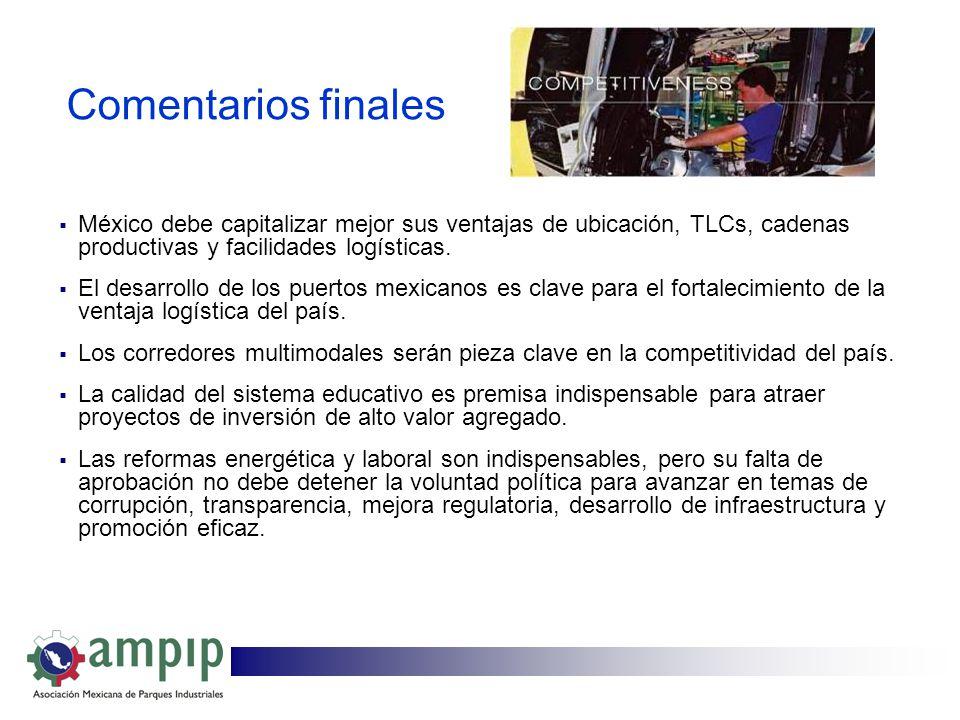 Comentarios finales México debe capitalizar mejor sus ventajas de ubicación, TLCs, cadenas productivas y facilidades logísticas.
