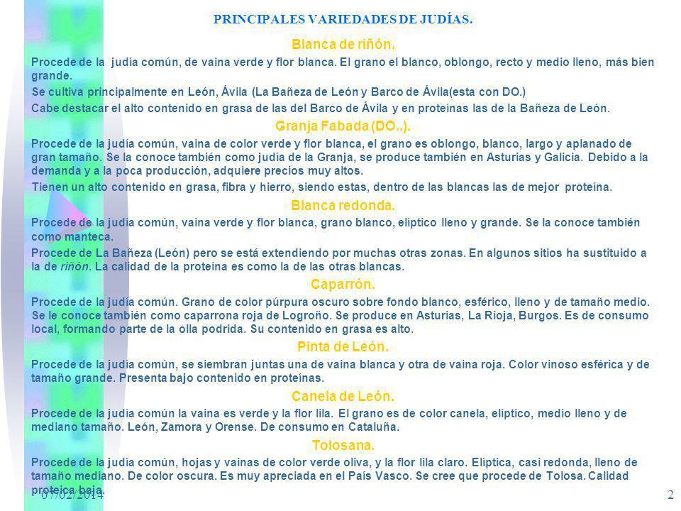 PRINCIPALES VARIEDADES DE JUDÍAS.