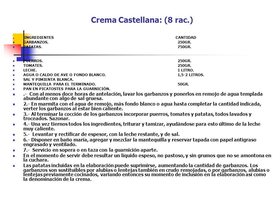Crema Castellana: (8 rac.)