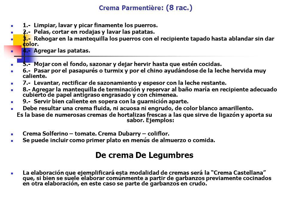 Crema Parmentière: (8 rac.)