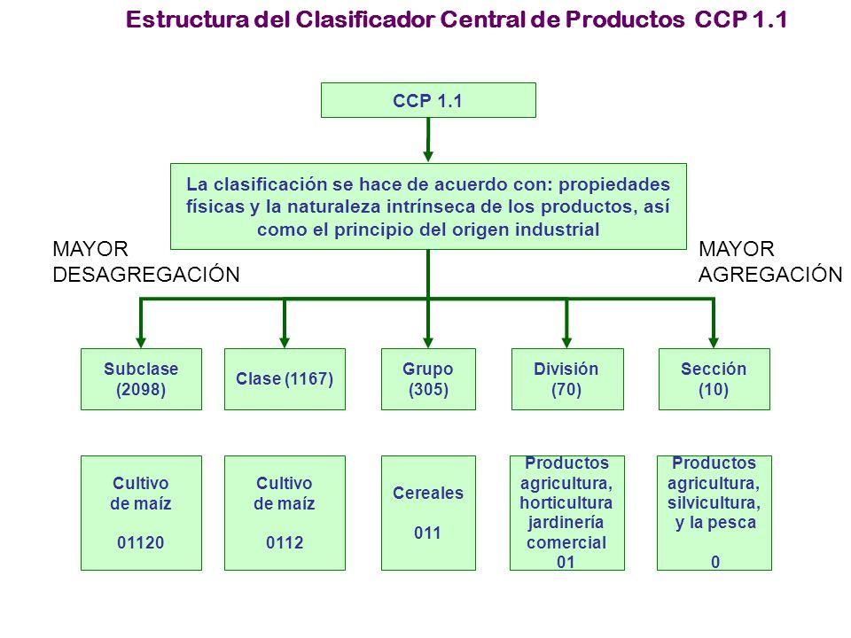 Estructura del Clasificador Central de Productos CCP 1.1