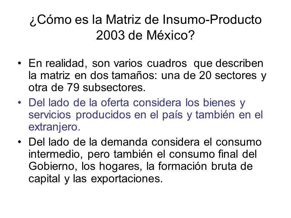¿Cómo es la Matriz de Insumo-Producto 2003 de México