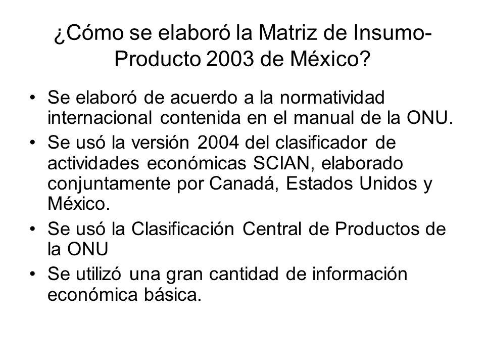 ¿Cómo se elaboró la Matriz de Insumo-Producto 2003 de México