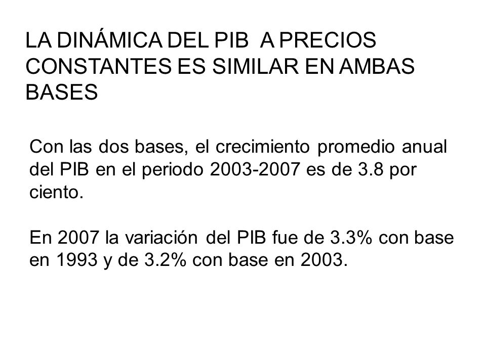 LA DINÁMICA DEL PIB A PRECIOS CONSTANTES ES SIMILAR EN AMBAS BASES