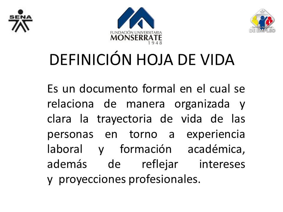 DEFINICIÓN HOJA DE VIDA