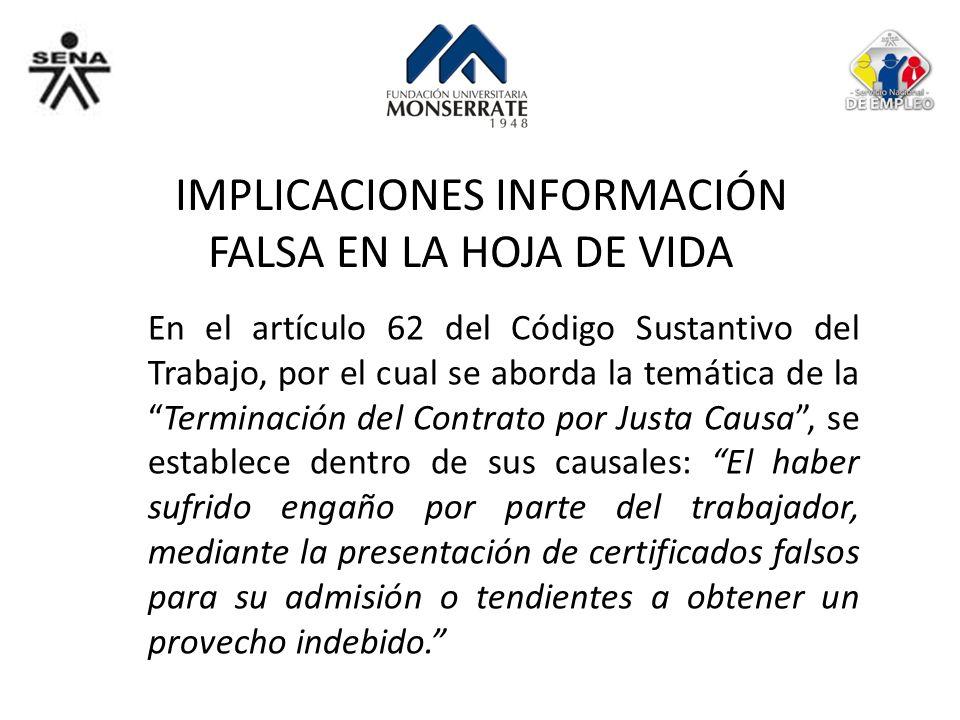 IMPLICACIONES INFORMACIÓN FALSA EN LA HOJA DE VIDA