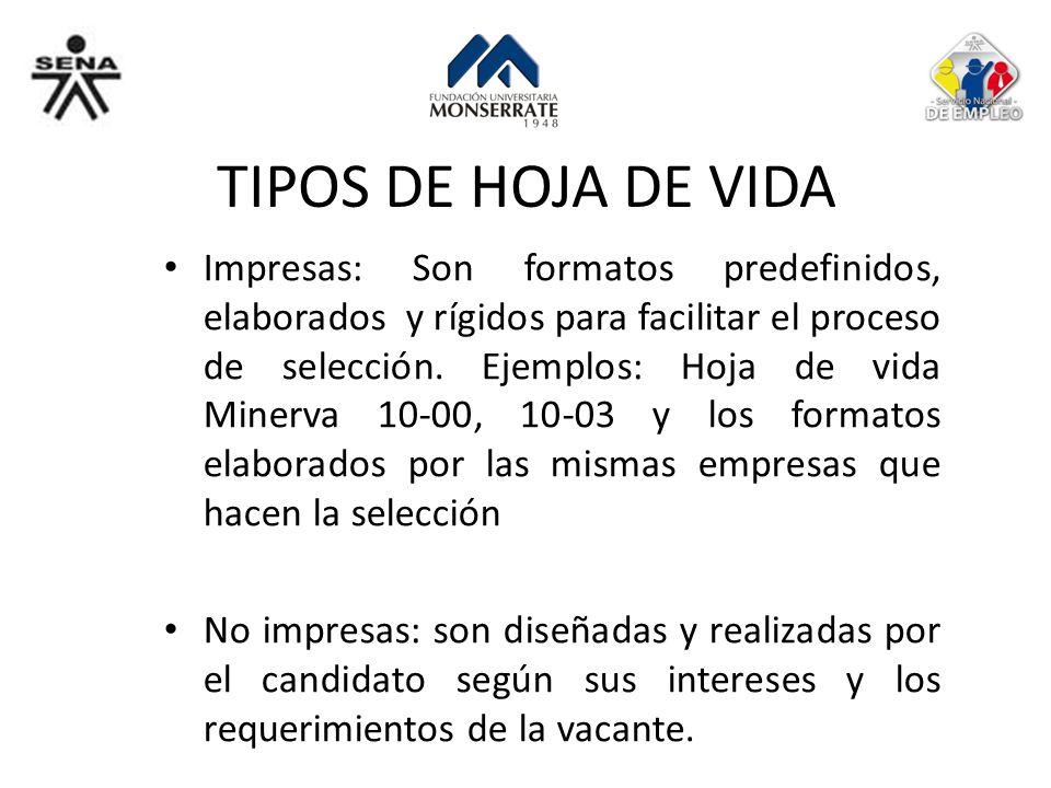 TIPOS DE HOJA DE VIDA