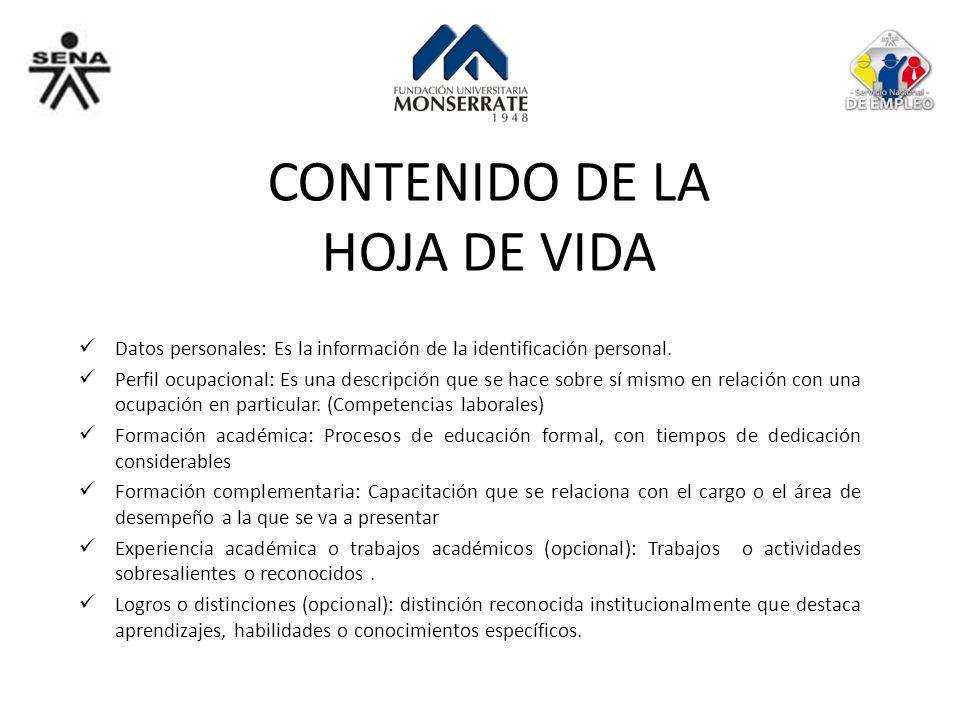 CONTENIDO DE LA HOJA DE VIDA