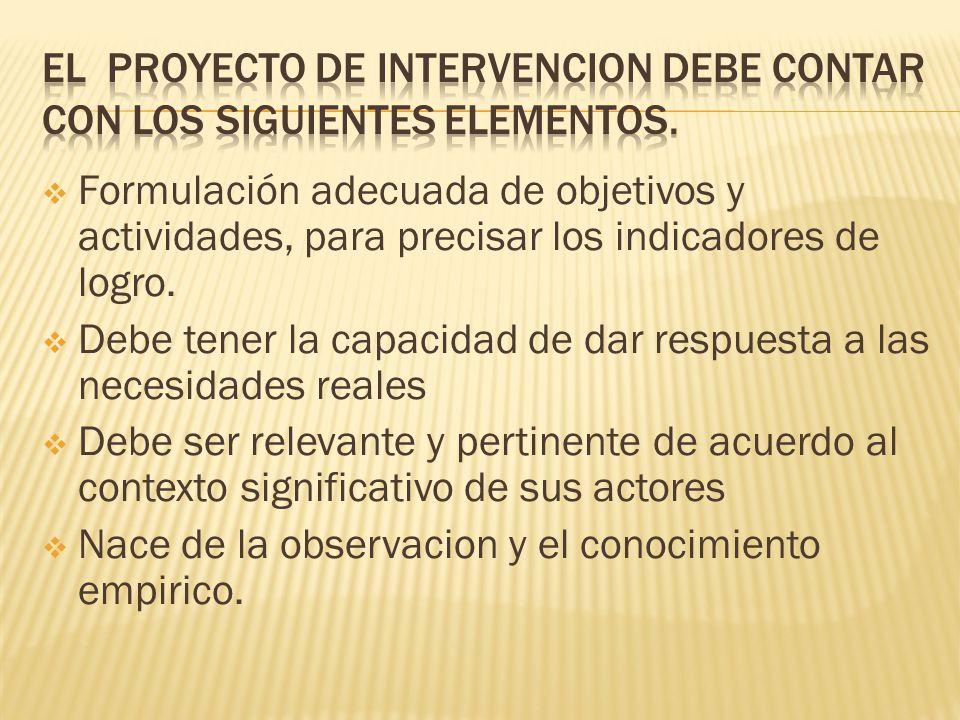 EL PROYECTO DE INTERVENCION DEBE CONTAR CON LOS SIGUIENTES ELEMENTOS.