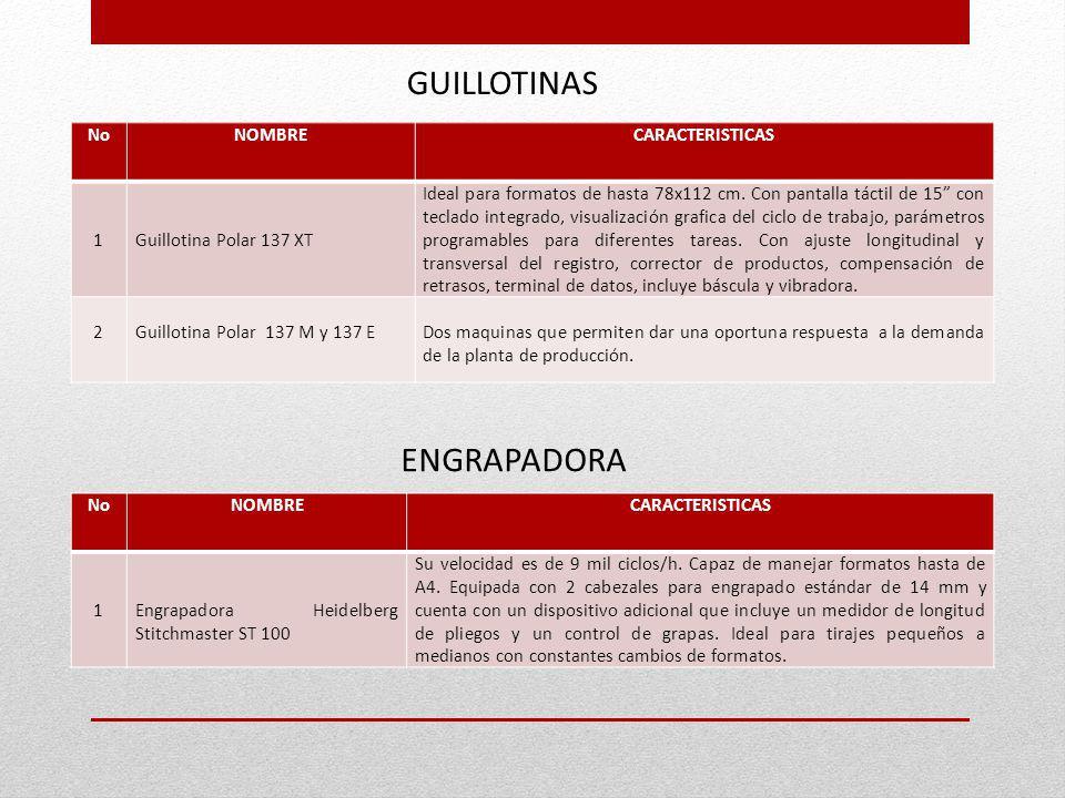 GUILLOTINAS ENGRAPADORA No NOMBRE CARACTERISTICAS 1