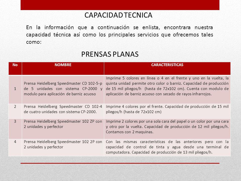 CAPACIDAD TECNICA PRENSAS PLANAS