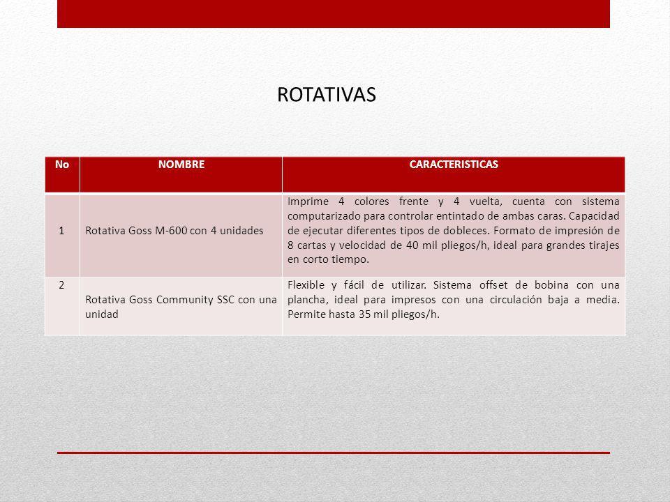 ROTATIVAS No NOMBRE CARACTERISTICAS 1
