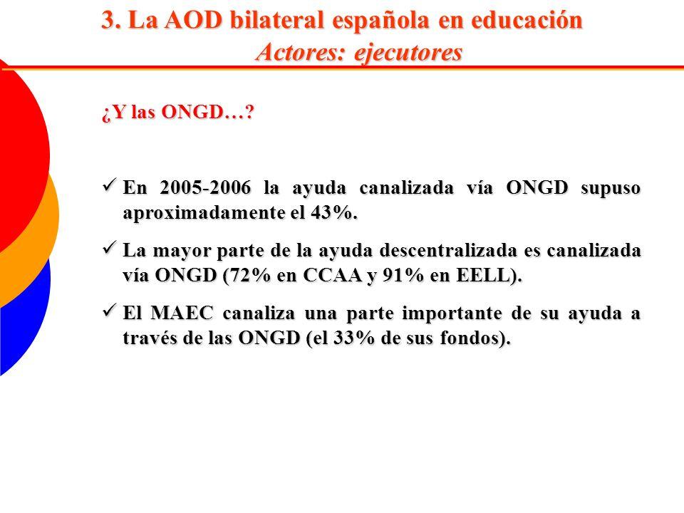 3. La AOD bilateral española en educación Actores: ejecutores