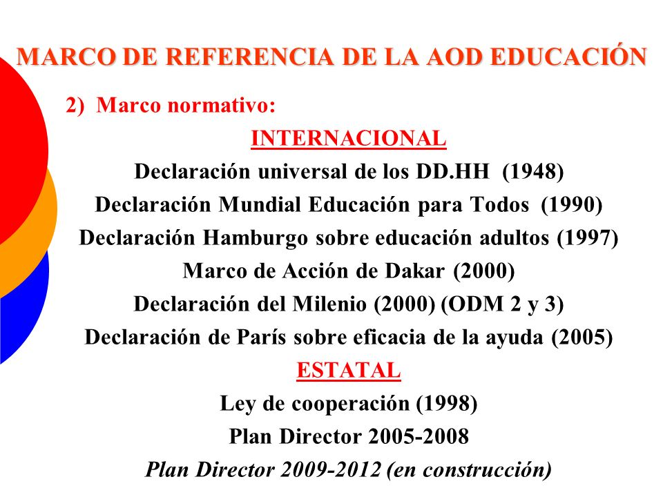 MARCO DE REFERENCIA DE LA AOD EDUCACIÓN
