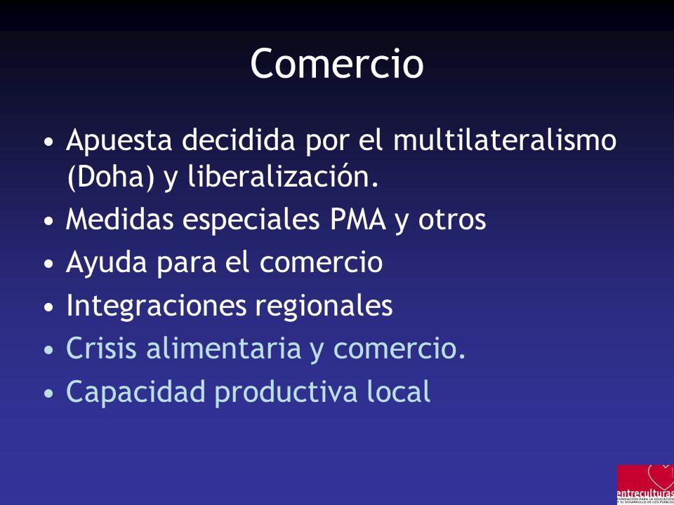 Comercio Apuesta decidida por el multilateralismo (Doha) y liberalización. Medidas especiales PMA y otros.