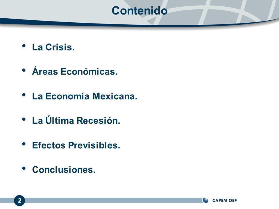 Contenido La Crisis. Áreas Económicas. La Economía Mexicana.
