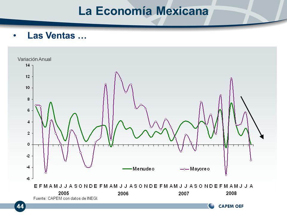 La Economía Mexicana Las Ventas … 44 Variación Anual 2005 2006 2007