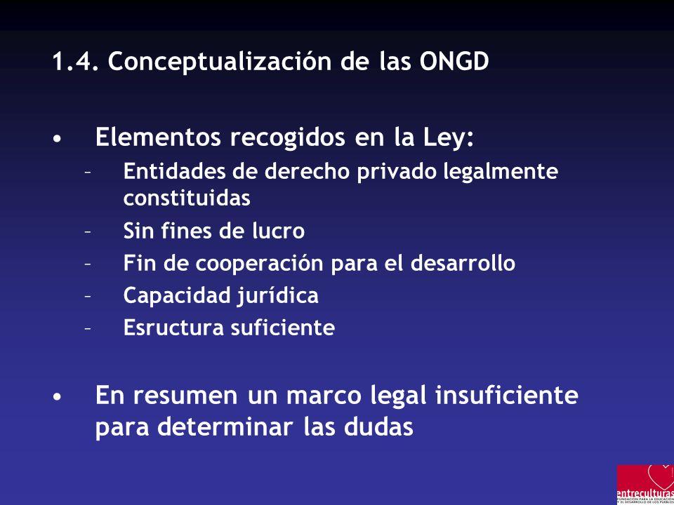 1.4. Conceptualización de las ONGD Elementos recogidos en la Ley: