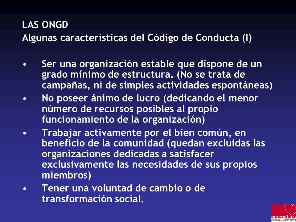 LAS ONGD Algunas características del Código de Conducta (I)
