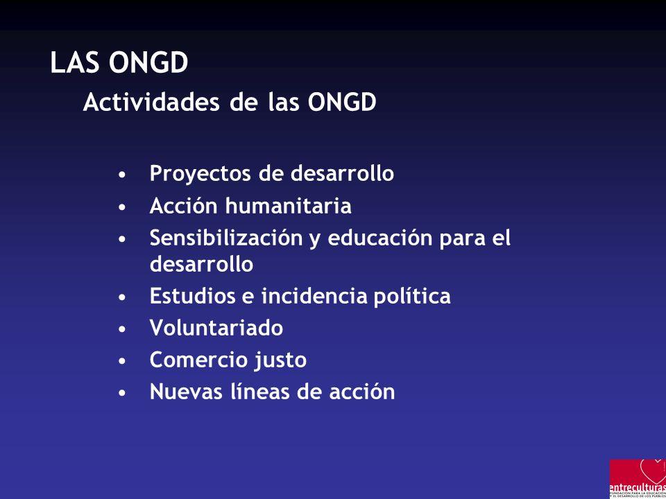 LAS ONGD Actividades de las ONGD Proyectos de desarrollo