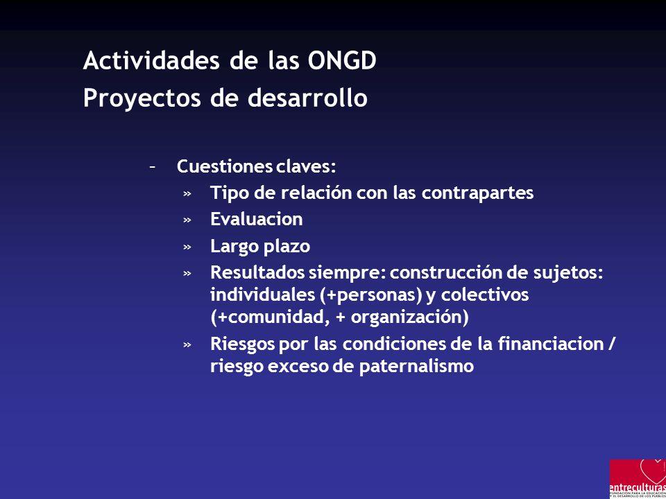 Actividades de las ONGD Proyectos de desarrollo