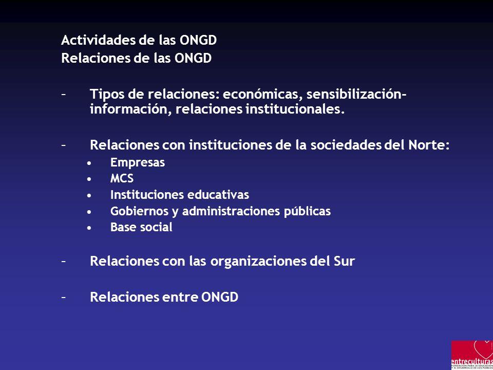 Actividades de las ONGD Relaciones de las ONGD