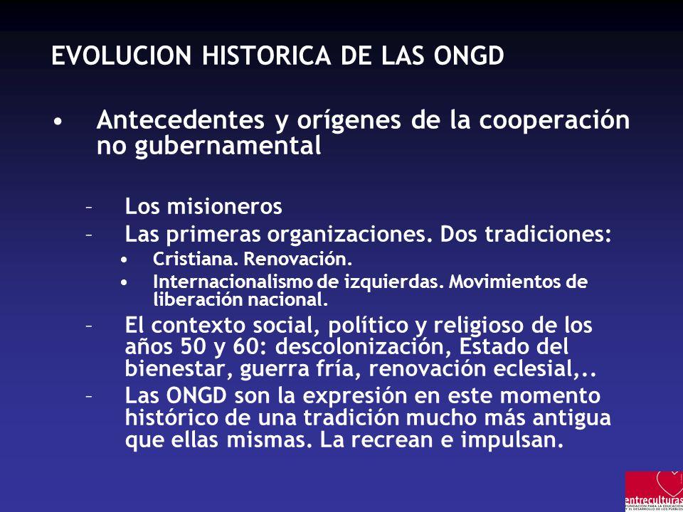 EVOLUCION HISTORICA DE LAS ONGD