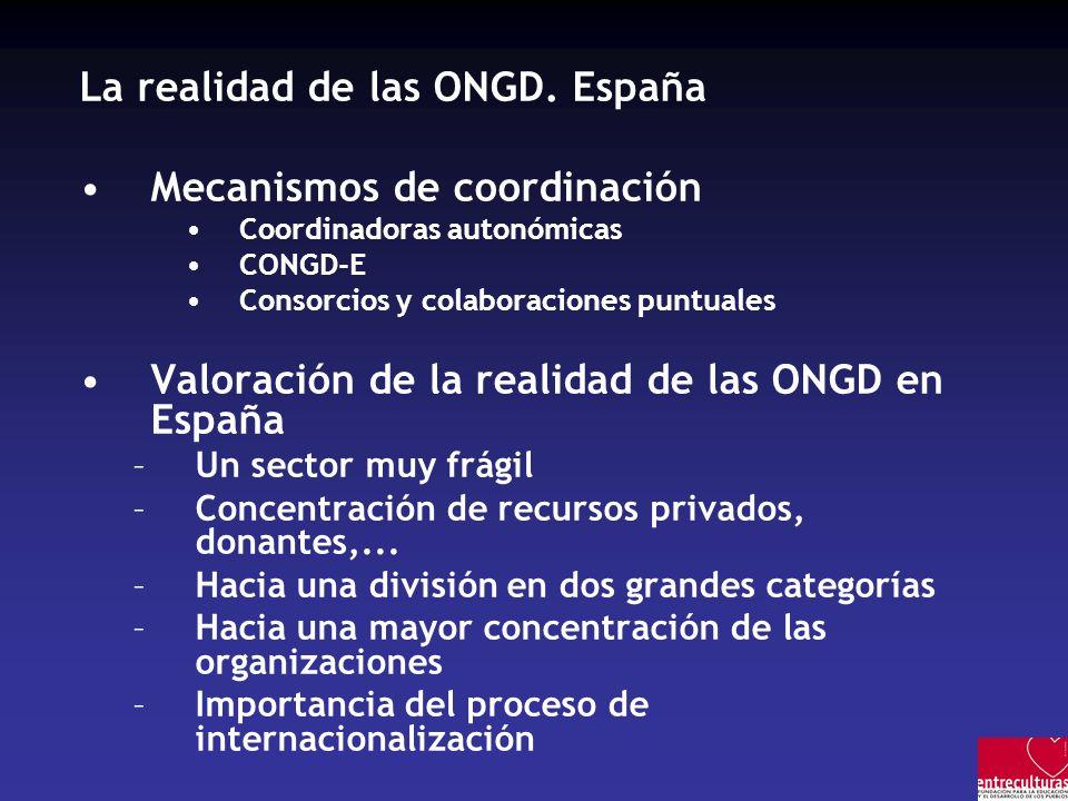 La realidad de las ONGD. España Mecanismos de coordinación